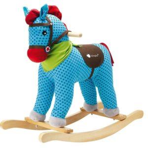 Caballo de madera balancín azul
