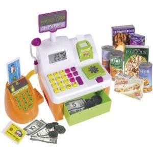 Caja registradora de juguete con productos