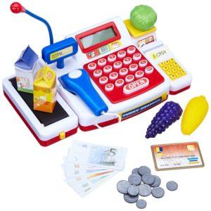 Caja registradora supermercado con escáner y calculadora