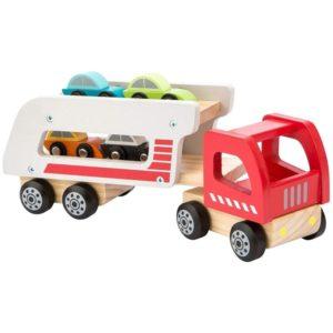 Camión portacoches de madera natural