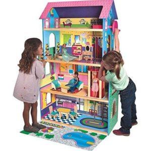 Casa de muñecas de madera con ascensor