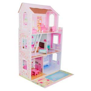 Casa de muñecas de madera con balcón