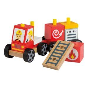 Coche de bomberos de madera