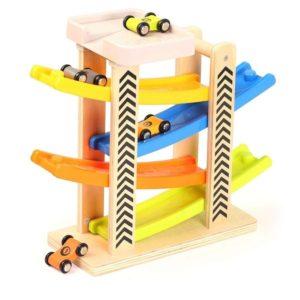 Coches de madera para niños con rampa