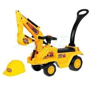 Excavadora de juguete con casco