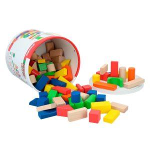 Juego de bloques de madera con 100 unidades