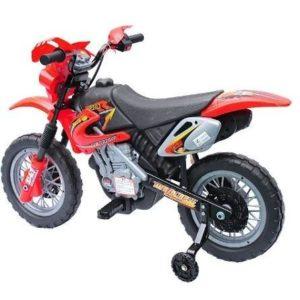 Moto eléctrica para niños con ruedas de apoyo