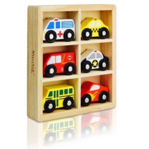 Pack de coches de madera en caja almacenaje