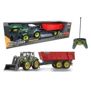 Tractor radiocontrol con pala excavadora y remolque motorizados
