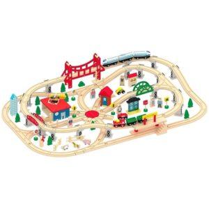 Tren de madera circuito más que 130 piezas