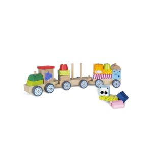 Tren madera con piezas de animales
